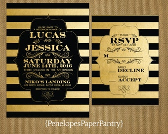 Black and Gold Wedding Invitations,Stripes,Bracket,Modern,Elegant,Sophisticated,Shimmery,Opt RSVP Card,Customizable,With Black Envelopes