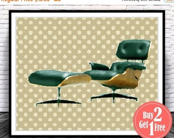 BIG SALE: Eames Lounge Chair Eames Chair Eames Chair Poster Eames Print Mid Century Poster Mid Century Print Retro Poster