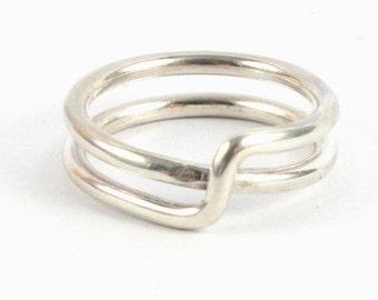Handmade 1.5mm Solid Silver 925 Crossover Ring