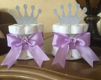 Lavender and silver princess mini diaper cake/Princess baby shower centerpiece/Lavender princ