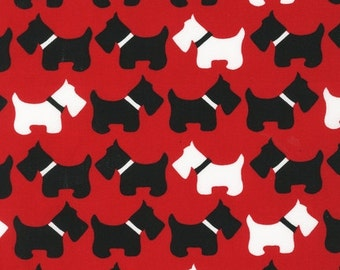 Robert Kaufman Urban Zoologie Red Scottie Dogs Quilters Cotton Fabric BTY