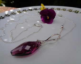 Necklace sterling silver, super long with Funkel-in violet Crystal