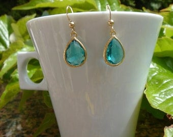 Gold Earrings, 585 vintag, hook up with Crystal glass drops in aquamarine blue