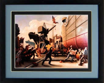 Thomas Hart Benton Cut The Line Art Poster Custom Framed A+ Quality