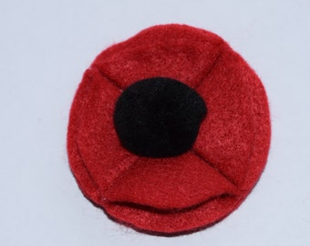Small Red Remembrance Felt Poppy Magnet