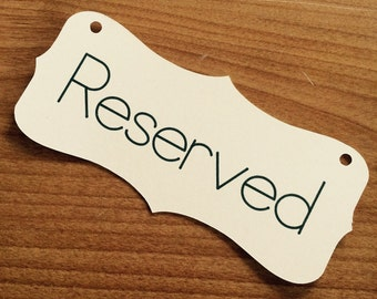 "Reserved chair sign metallic cardstock 6"" wedding sign"