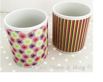 Mug Set - Beautiful mug set, coloured stripes and firework wrap around design mugs