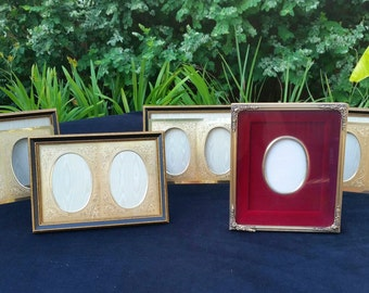 Picture Frame Instant Collection, NOS in Boxes Set of 5 Gold Oval Tabletop Photo Frames, Wedding Photos, Family Anniversary Picture Frames