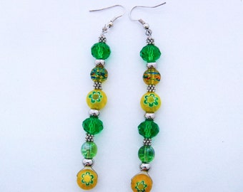 Fashionable Handmade Earrings  - Green a and Yellow