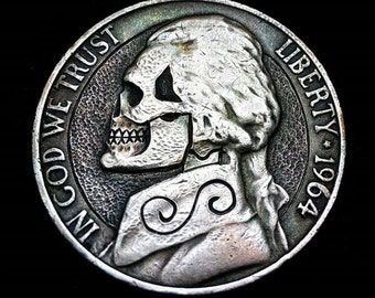 Modern Skull Hobo Nickel! Carved By JB These Are Not Carved Yet And Will Be When Ordered!