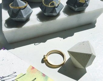 Charcoal Colored Concrete Diamond Ring Holder Set of Three