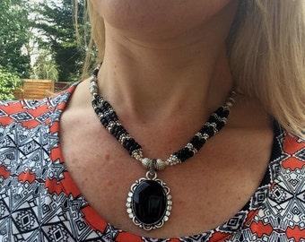 Chunky black Onyx necklace, Sterling Silver black gemstone necklace, chunky pendant necklace, black statement jewelry Onyx jewellery