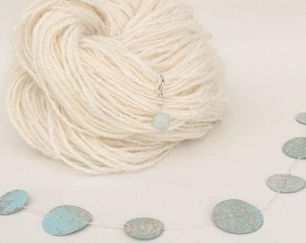 Luxury Genuine Aquamarine Gemstone Removable Stitch Marker Progress Keeper for Knitting and Crochet