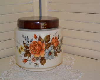 McCoy pottery-Cookie Jar-Canister-Roses-214
