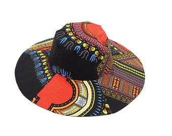 African Clothes , Angelina Traditional Print Wide Brim Hat