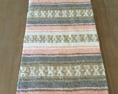 Mexican table runner, light coral beach blanket, boho chic decor, rustic wedding, tribal party, great as beach blanket, shawl or as a gift.