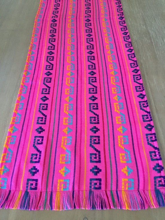 Mexican table runner napkins or tablecloth handwoven pink