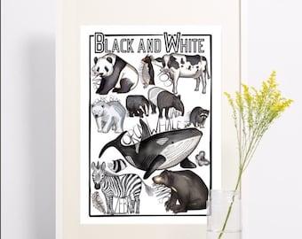 Black and white animal print, bold and fun, zebra, panda, bear, whale, cow, penguin art for kids room, babies room, monochrome art work