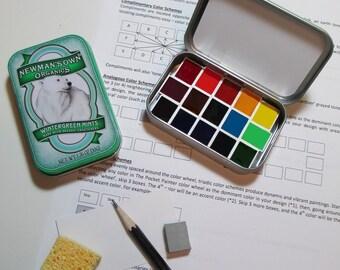 Mini POLAR BEAR WATERCOLOR Palette ~collectible tin~artist-grade paints~full color spectrum~compact~portable~travel sketch~altoids-style tin
