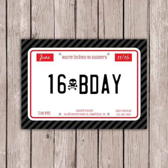 PRINTABLE 16th Sixteenth Birthday Party Invitation Boy's