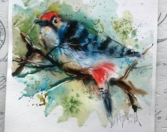 ORIGINAL watercolour painting WOODPECKER by Natalie Graham bird painting wildlife watercolor art