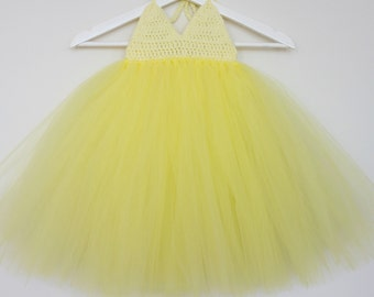 The Yasmin - soft/lemon yellow tutu dress
