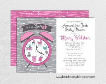 Around the Clock Baby Shower Invitation for Boy, Girl, or Gender Neutral, Customized, Digital File