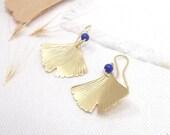 Vintage ginkgo earrings, lapis little earrings, little golden pendants, nature earrings, organic pendants, Retro Brass earrings.