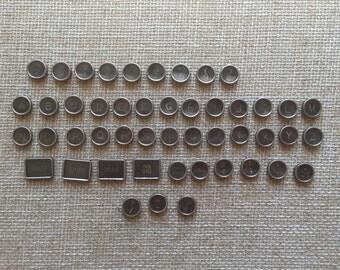 Antique Royal Typewriter Keys Complete Set of 48 Black Glass Keys c. 1940's