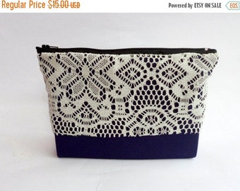 CLEARANCE Navy Blue Cosmetic Bag / Navy Blue Pouch / Navy Blue Clutch / Blue Travel Bag / Travel Cosmetic Bag / Blue Lace Bag / Lace Makeup