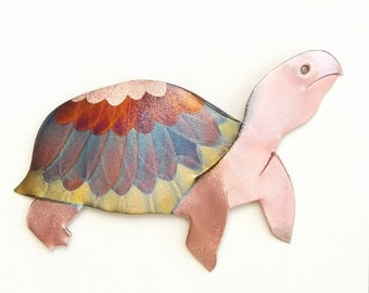 Flame painted copper Tortise, pin