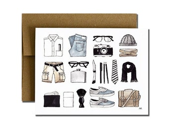 Mens Minimal Items Card. Card for Men. Print of my Original Illustration with Ink and Watercolor.