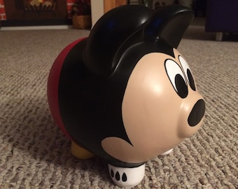 Mickey Mouse Hand Painted Ceramic Piggy Bank Large