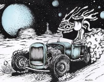 Moon Ride original weirdo artwork lowbrow kustom kulture