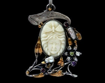 Unique Handcrafted One-of-a kind Cameo Pendant