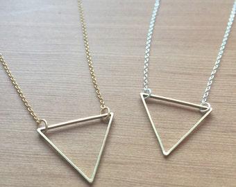 Open • T R I A N G L E pendant necklace  || matte gold / silver