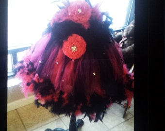 tutu dress with hair pc made with feathers