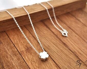 Sterling Silver Clover Necklace, Clover Pendant, Clover Chain, Silver Clover, Clover, little Clover, daily necklace, 3D, Four leaf clover