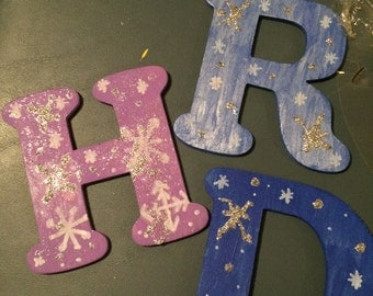 3 personalized letter ornaments with basic shipping