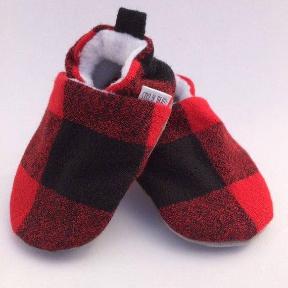 Buffalo Plaid Handmade Baby Shoes Baby Booties Soft Sole