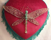 SALE CLEARANCE Art Dragonfly Totem Loveheart Wall Hanging Orignal Art Insect Decoration OOAK Ready To Hang