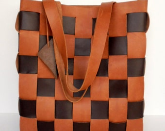 Brown Leather Tote  - Large Leather tote - Brown Leather Bag Brown Leather Tote,Woven Leather Tote,leathertotes