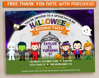 Kids Halloween Party Invitation, Costume Party Invitation, Halloween Birthday Party Invitations