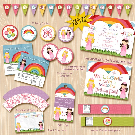 Princess party printable decorations / Princess Joint Party / Sisters, friends, cousins / 2 princesses / Printable Invitation Included