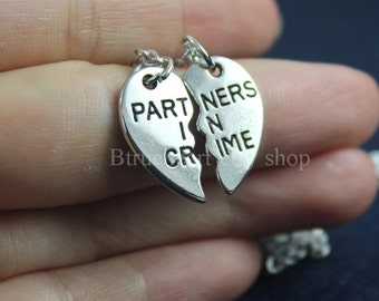 Silver PARTNERS IN CRIME necklace,friendship necklace set, best friends, broken heart set, sisters gift jwelry
