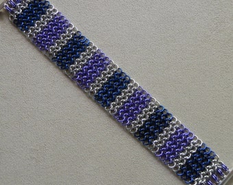Bracelet, Handmade Chainmaille, European 4 in 1 Weave in Blue, Purple and Silver, with Slide Clasp