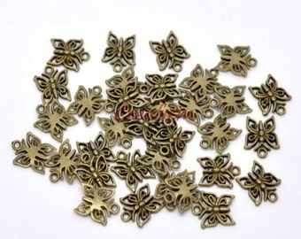 50 charms Butterfly Bronze
