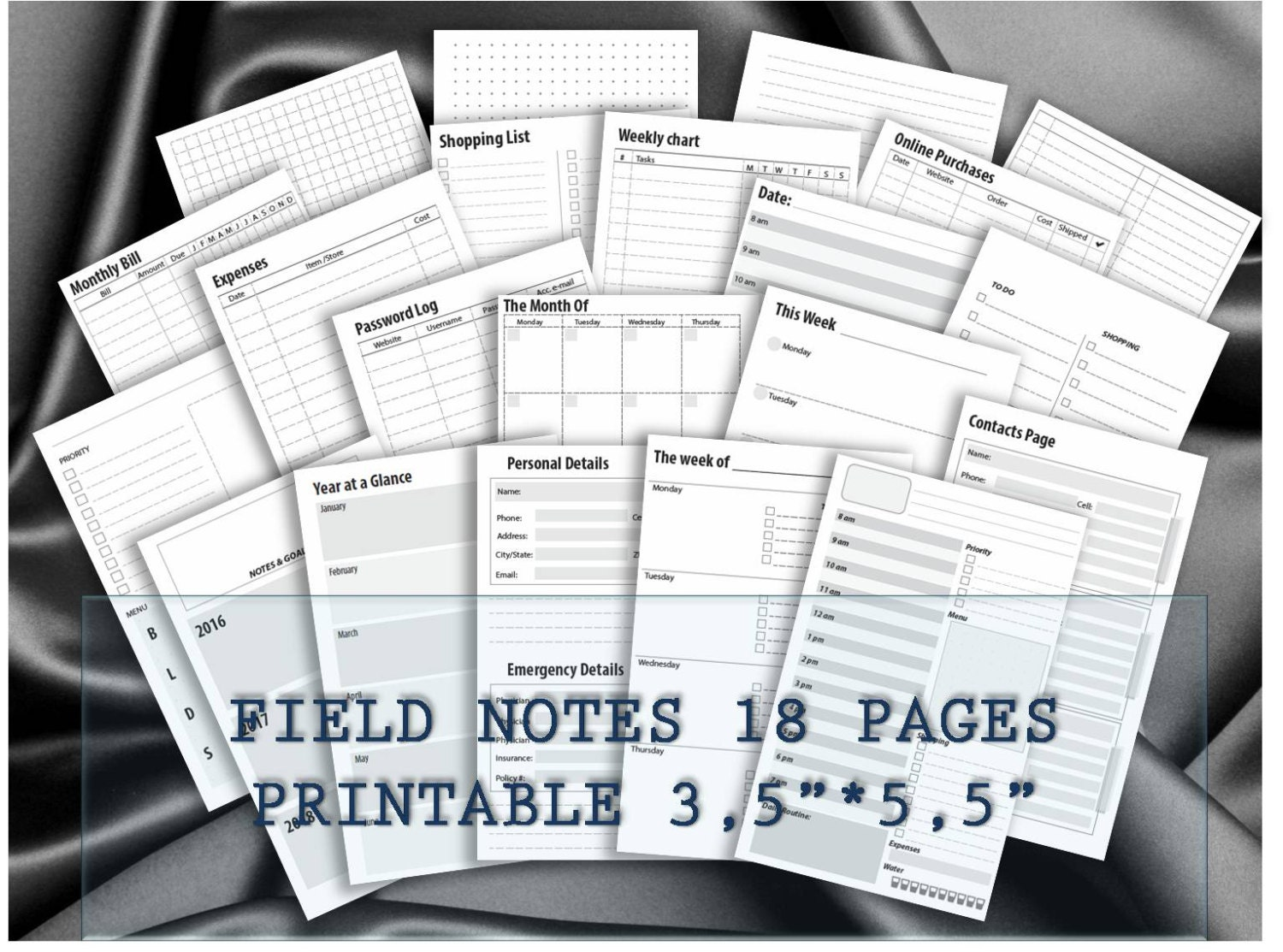 Field Notes travelers notebook inserts midori planner ...