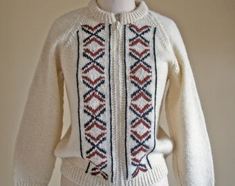 Vintage Virgin Wool New Zealand Cardigan Sweater Womens Small / Vintage Wool Cardigan Sweater made by Kotuku / Hand Knitted Hand knit wool