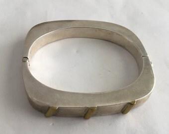 Vintage Mexican Modernist 925 Sterling Silver Cuff Bangle Bracelet. I130